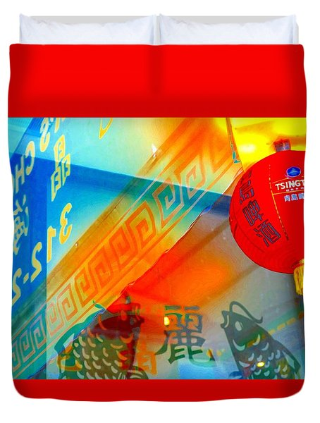 Duvet Cover featuring the photograph Chinatown Window Reflection 3 by Marianne Dow