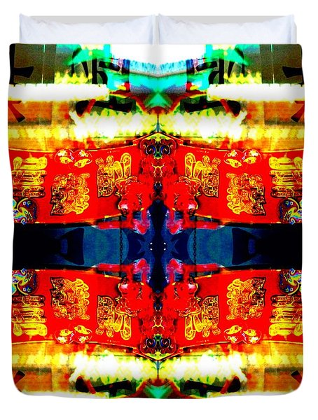 Chinatown Window Reflection 5 Duvet Cover by Marianne Dow
