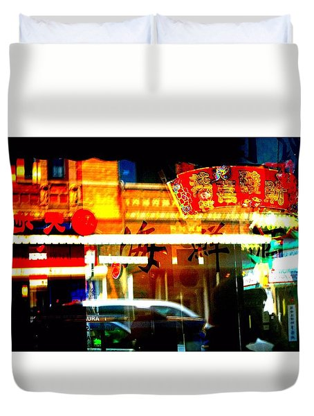 Duvet Cover featuring the photograph Chinatown Window Reflections 2 by Marianne Dow