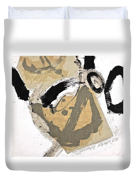 Duvet Cover featuring the painting Chine Colle by Cliff Spohn