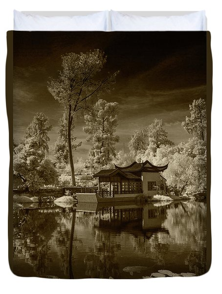 Duvet Cover featuring the photograph Chinese Botanical Garden In California With Koi Fish In Sepia Tone by Randall Nyhof