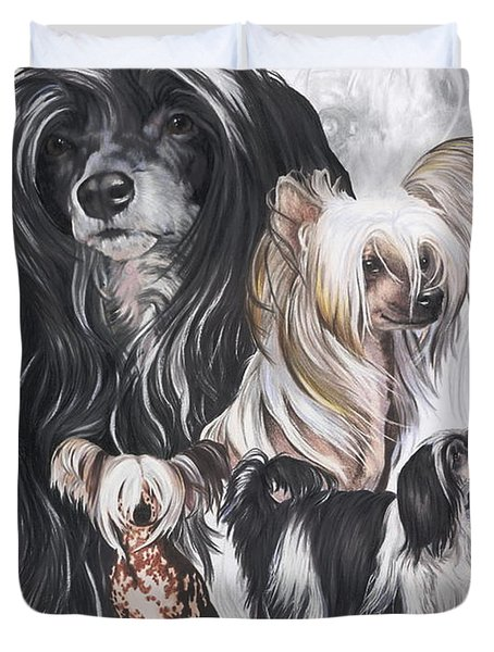 Chinese Crested And Powderpuff Medley Duvet Cover