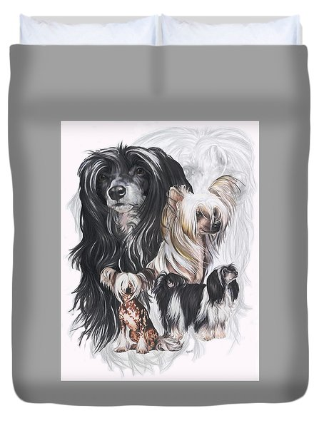 Chinese Crested And Powderpuff W/ghost Duvet Cover by Barbara Keith