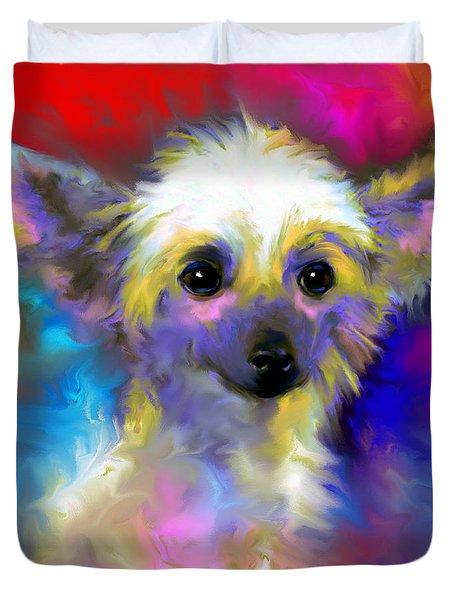 Chinese Crested Dog Puppy Painting Print Duvet Cover by Svetlana Novikova