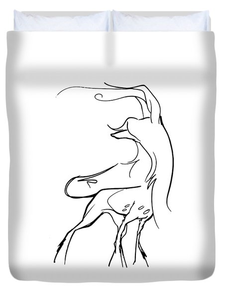 Chinese Crested Gesture Sketch Duvet Cover