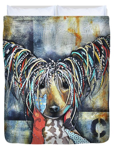 Duvet Cover featuring the mixed media Chinese Crested by Patricia Lintner