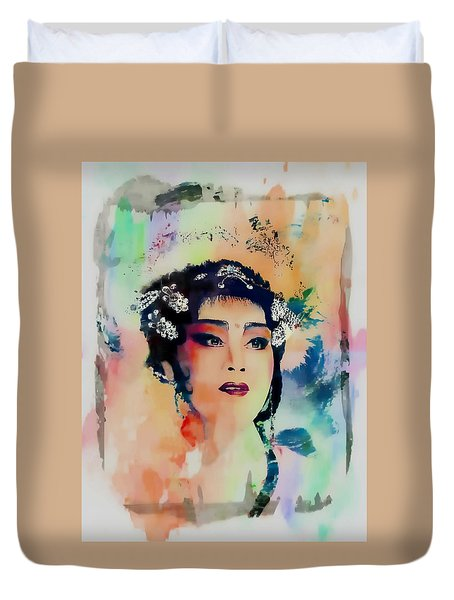 Chinese Cultural Girl - Digital Watercolor  Duvet Cover