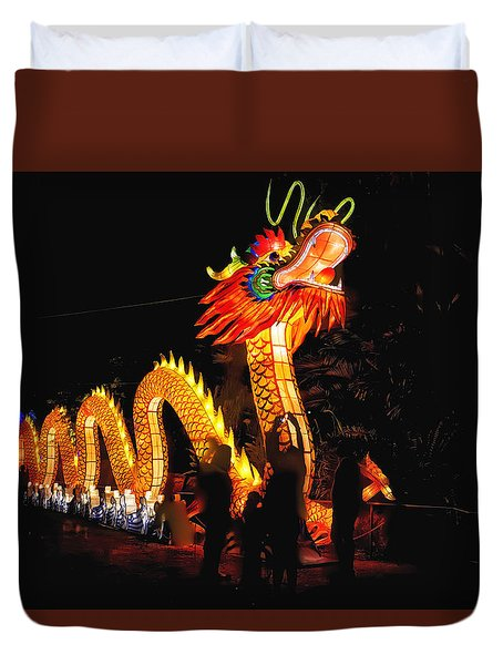 Chinese Dragon In Hdr Duvet Cover
