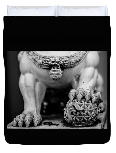 Chinese Guardian Lions Shishi Duvet Cover