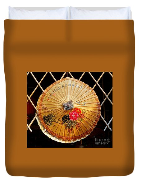 Duvet Cover featuring the photograph Chinese Hand-painted Oil-paper Umbrella by Yali Shi