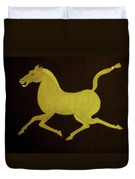 Chinese Horse Duvet Cover by Stephanie Moore