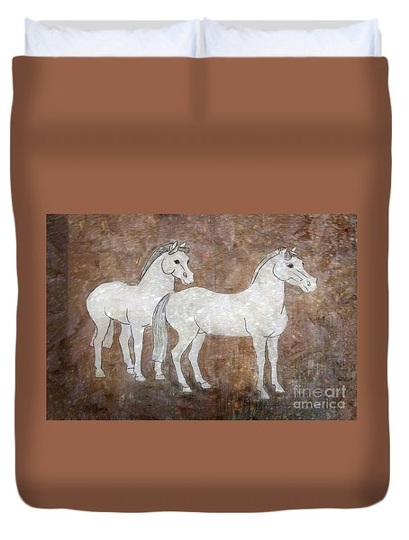 Duvet Cover featuring the drawing Chinese Horses by Nareeta Martin