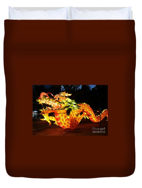 Duvet Cover featuring the photograph Chinese Lantern In The Shape Of A Dragon by Yali Shi