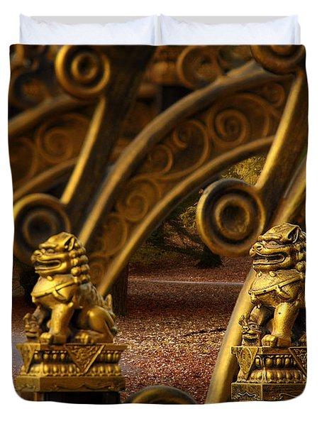 Chinese Lions - Luck Prosperity Power Grandeur Duvet Cover by Christine Till