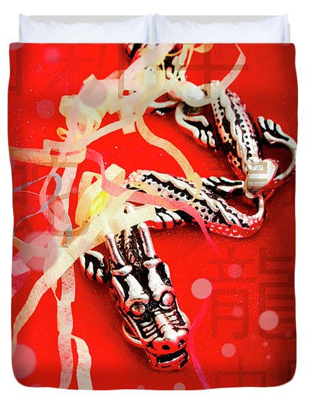 Chinese New Year Background Duvet Cover