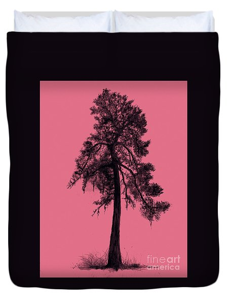 Duvet Cover featuring the drawing Chinese Pine Tree by Maja Sokolowska