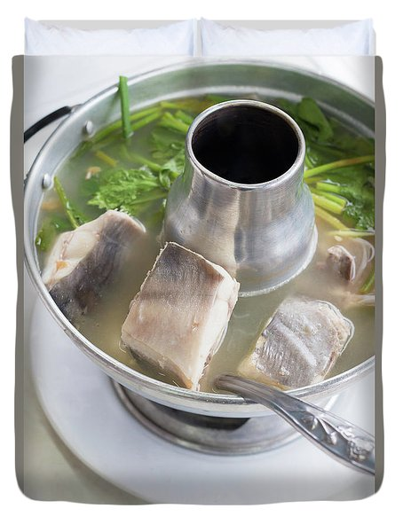 Duvet Cover featuring the photograph Chinese Silver Pomfret Soup by Atiketta Sangasaeng