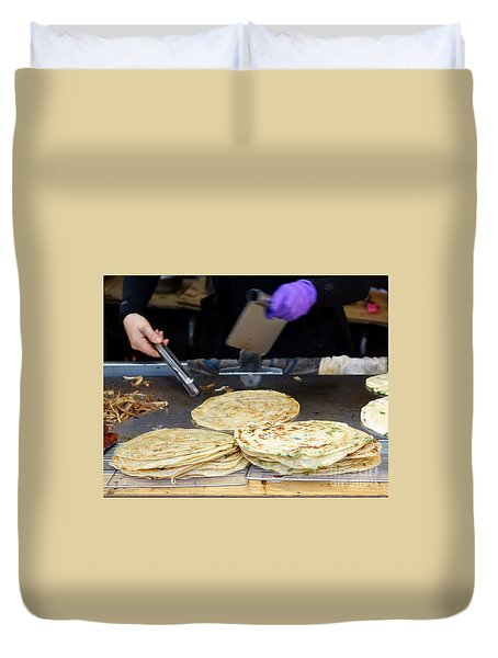 Duvet Cover featuring the photograph Chinese Street Vendor Cooks Onion Pancakes by Yali Shi