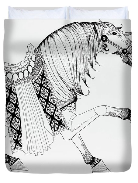 Duvet Cover featuring the drawing Chinese War Horse 2 by Jani Freimann