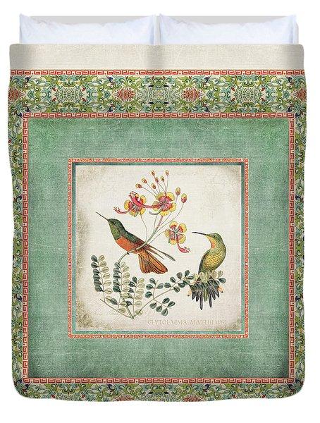 Chinoiserie Vintage Hummingbirds N Flowers 1 Duvet Cover