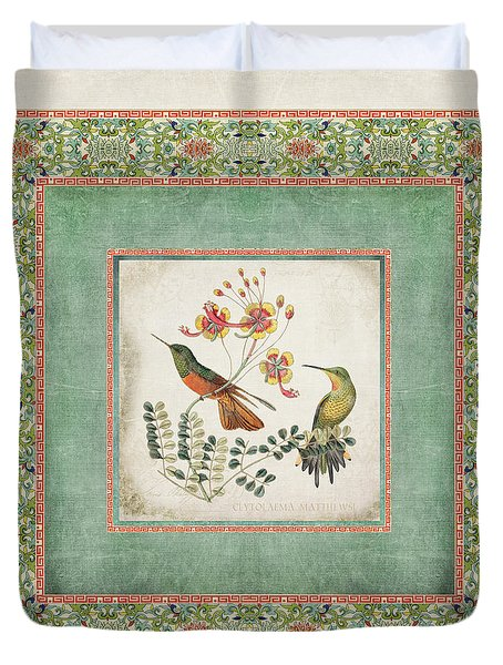 Chinoiserie Vintage Hummingbirds N Flowers 1 Duvet Cover