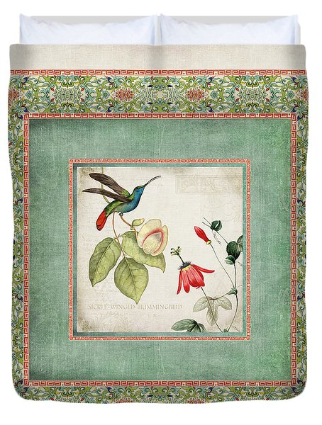 Chinoiserie Vintage Hummingbirds N Flowers 2 Duvet Cover