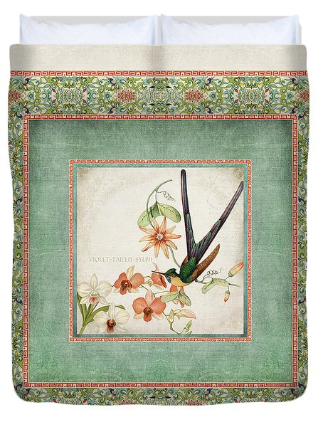 Chinoiserie Vintage Hummingbirds N Flowers 3 Duvet Cover