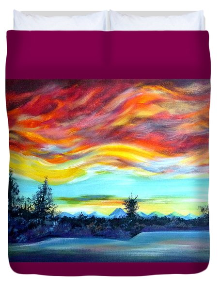 Duvet Cover featuring the painting Chinook Arch Over Bow River by Anna  Duyunova