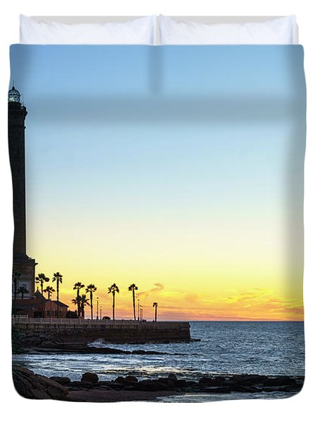 Chipiona Lighthouse Cadiz Spain Duvet Cover by Pablo Avanzini