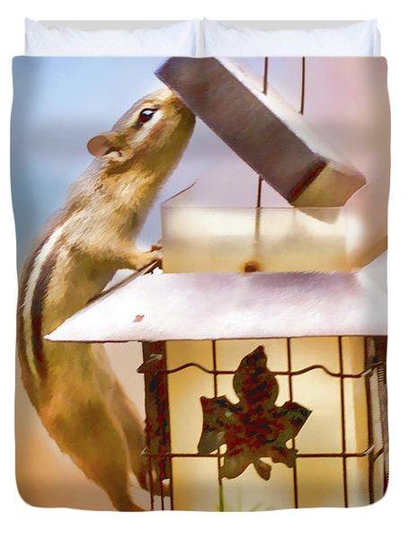 Chipmunk  At The Feeder 1 Nursery Triptych Duvet Cover