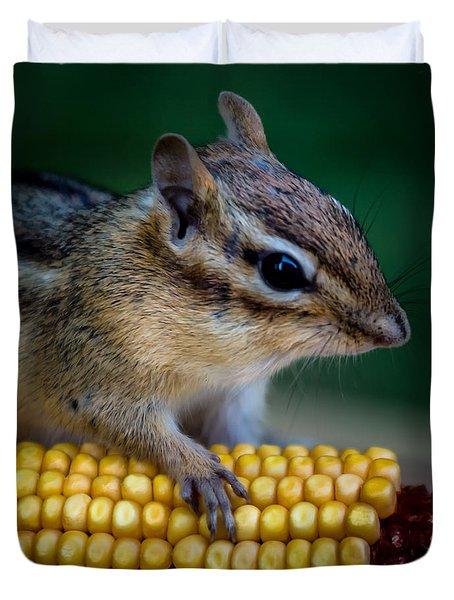 Chipmunk Goes Wild For Corn Duvet Cover