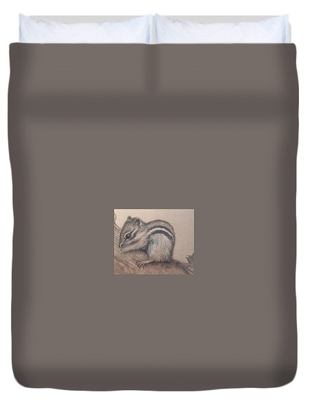 Duvet Cover featuring the drawing Chipmunk, Tn Wildlife Series by Annamarie Sidella-Felts