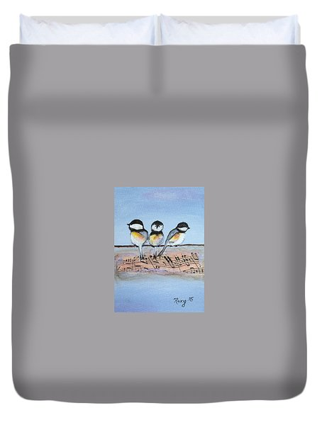 Chirpy Chickadees Duvet Cover by Roxy Rich