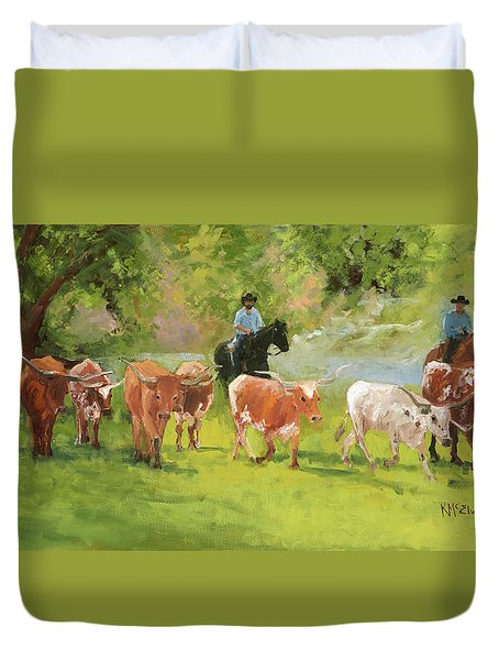 Chisholm Trail Texas Longhorn Cattle Drive Oil Painting By Kmcelwaine Duvet Cover