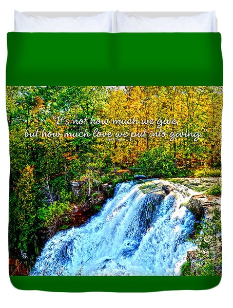 Duvet Cover featuring the photograph Chittenango Falls, Ny Mother Teresa  by Diane E Berry