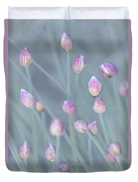 Duvet Cover featuring the photograph Chive Buds by Tom Singleton