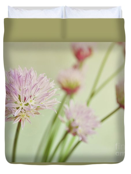 Chives In Flower Duvet Cover by Lyn Randle