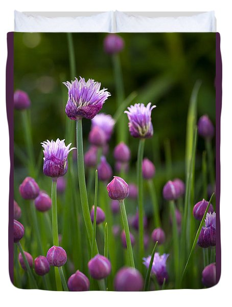 Duvet Cover featuring the photograph Chives by Patrick Downey