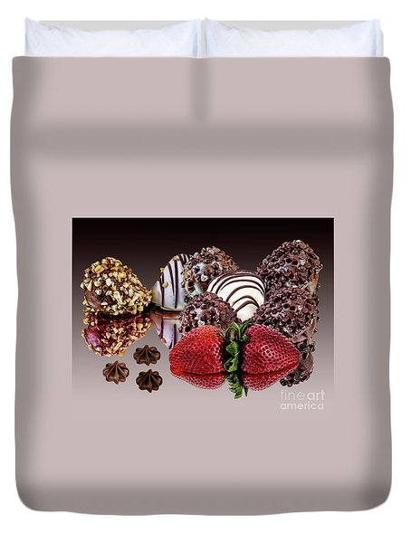 Chocolate And Strawberries Duvet Cover