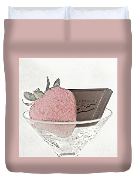 Chocolate And Strawberry Martini Duvet Cover
