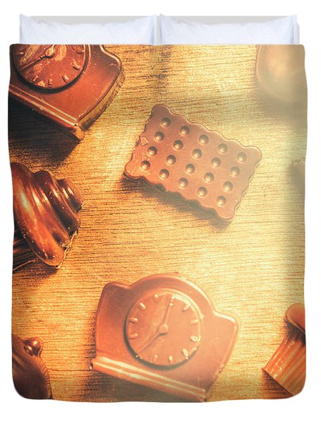 Chocolate Cafe Background Duvet Cover