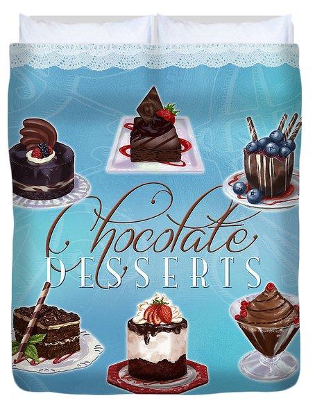 Chocolate Desserts Duvet Cover