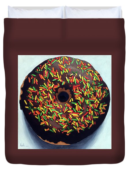 Duvet Cover featuring the painting Chocolate Donut And Sprinkles Large Painting by Linda Apple