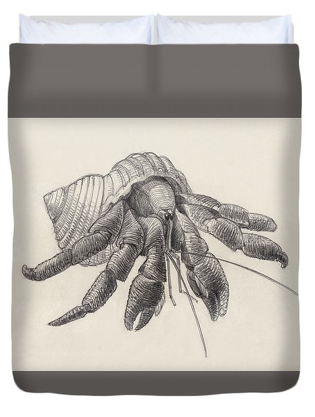 Duvet Cover featuring the drawing Chocolate Hermit Crab by Judith Kunzle