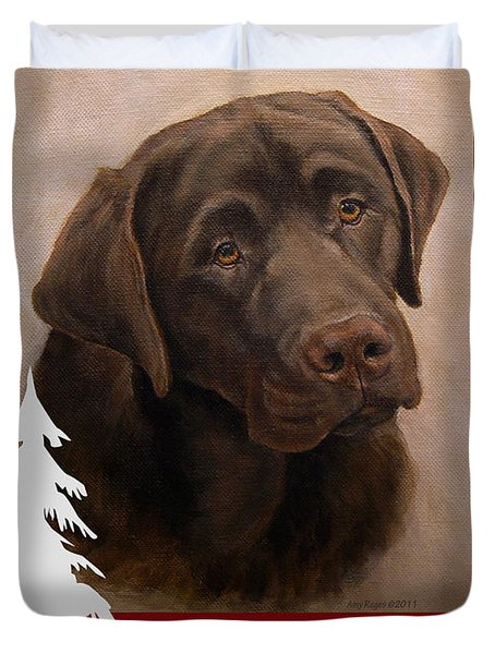 Chocolate Labrador Portrait Christmas Duvet Cover