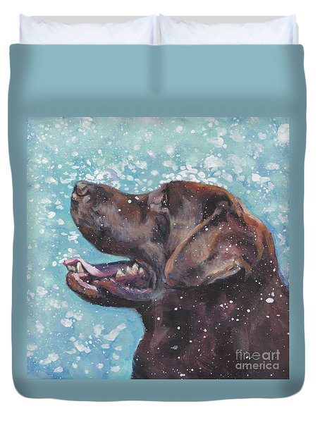 Duvet Cover featuring the painting Chocolate Labrador Retriever by Lee Ann Shepard