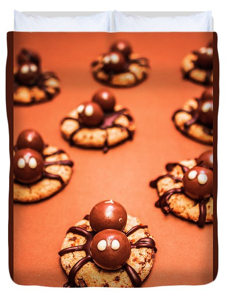 Chocolate Peanut Butter Spider Cookies Duvet Cover