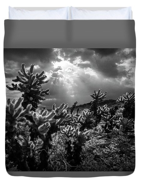 Duvet Cover featuring the photograph Cholla Cactus Garden Bathed In Sunlight In Black And White by Randall Nyhof