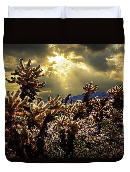 Duvet Cover featuring the photograph Cholla Cactus Garden Bathed In Sunlight In Joshua Tree National Park by Randall Nyhof