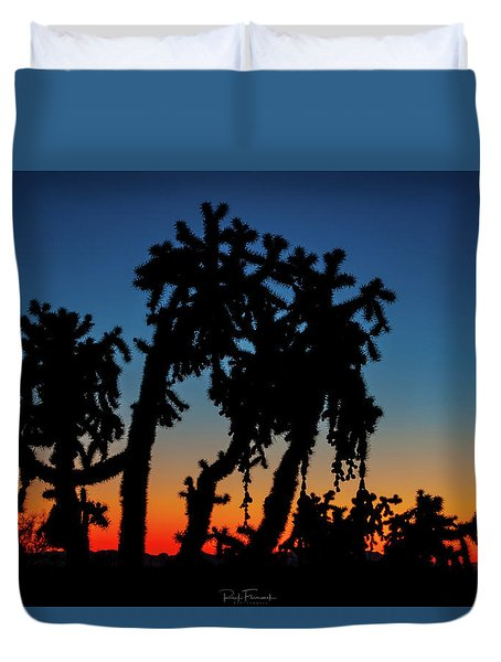 Duvet Cover featuring the photograph Cholla Silhouettes by Rick Furmanek